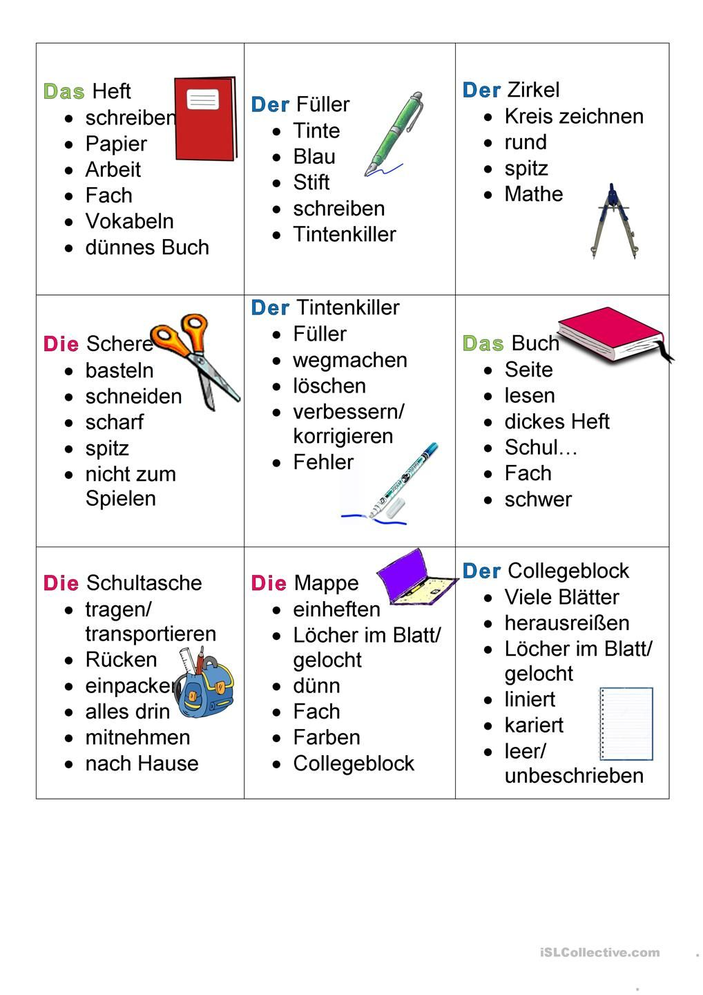 Schulsachen Tabu Differenziert | German, Learn german and Language