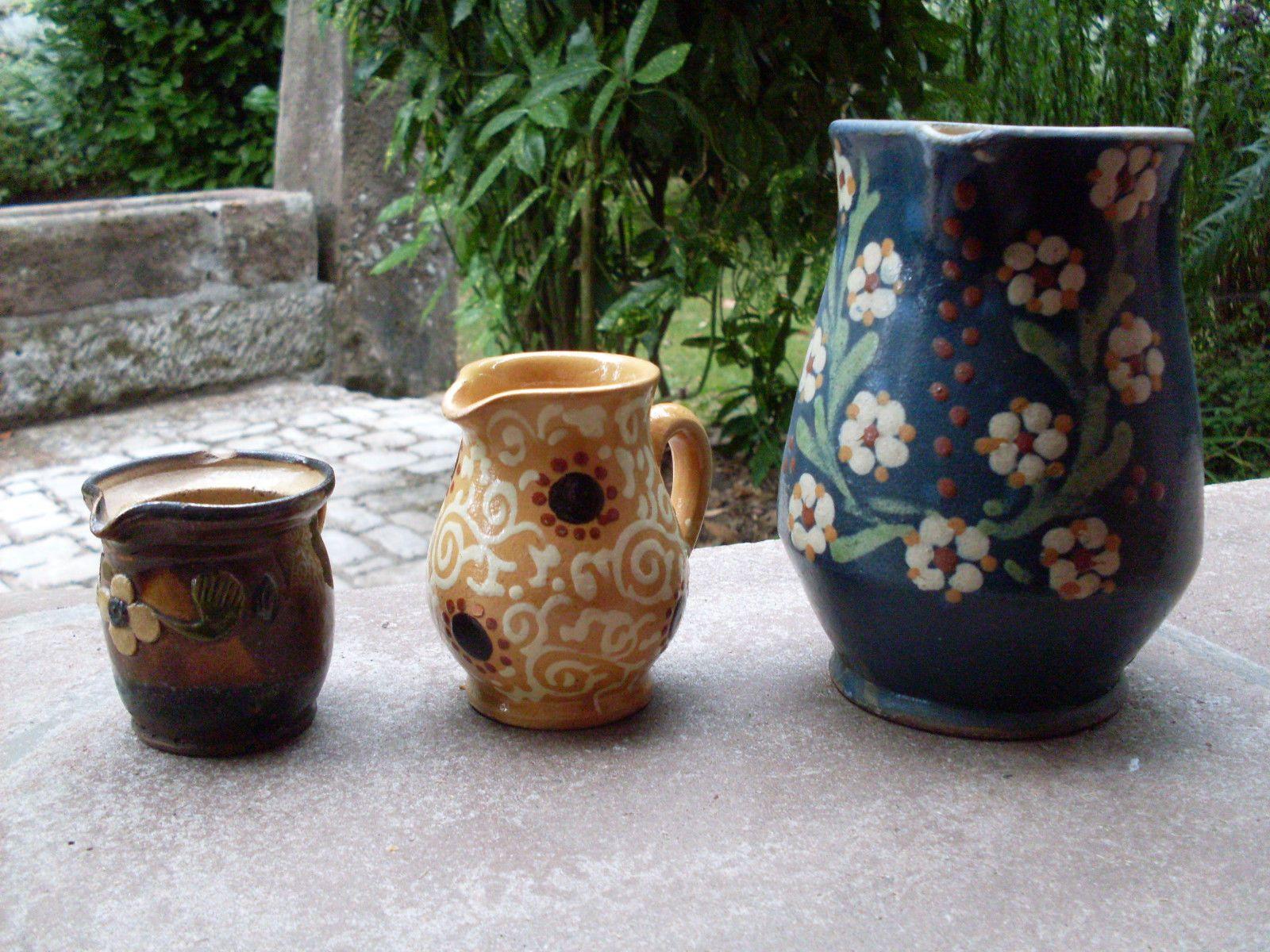 Alsace 3 rares poteries anciennes soufflenheim terre cuite vernissee pichets - Poterie goicoechea vente ligne ...