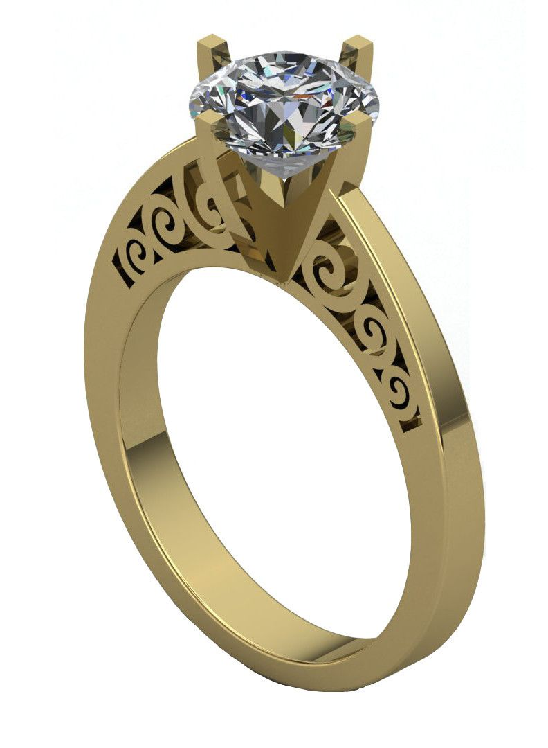 Gothic Engagement Ring With White Moissanite 75 14 K