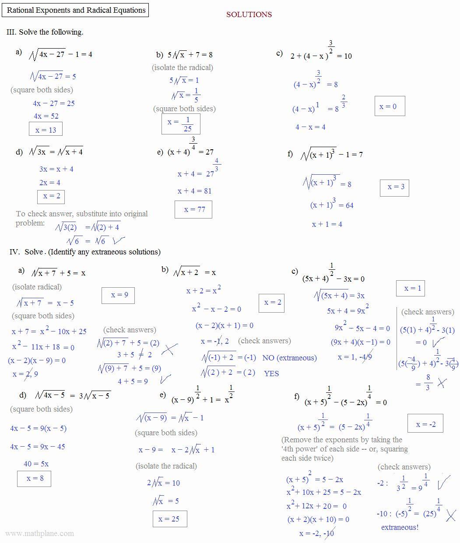 Radicals And Rational Exponents Worksheet Elegant Math