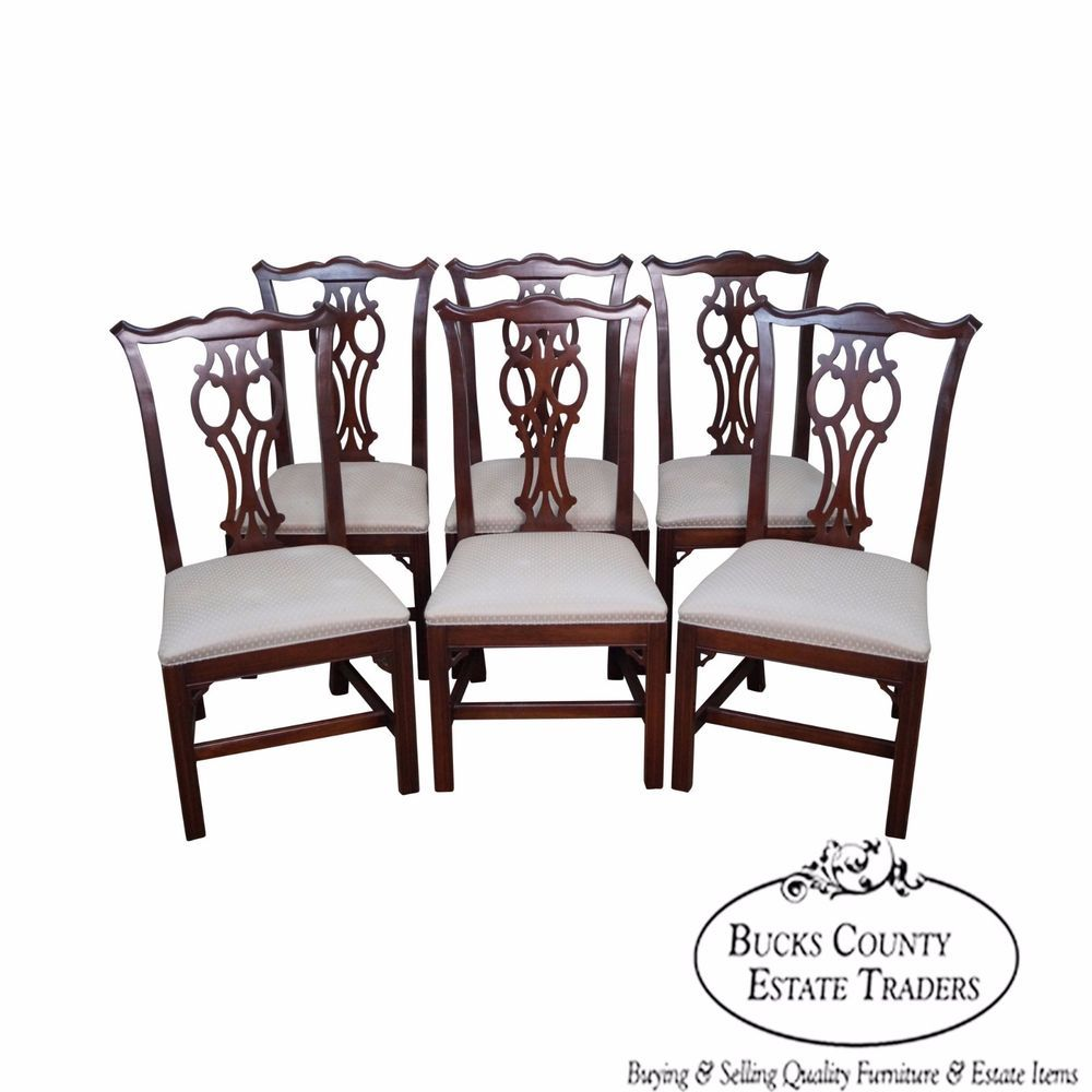 ethan allen dining chairs. Ethan Allen Georgian Court Set Of 6 Solid Cherry Chippendale Style Dining Chairs