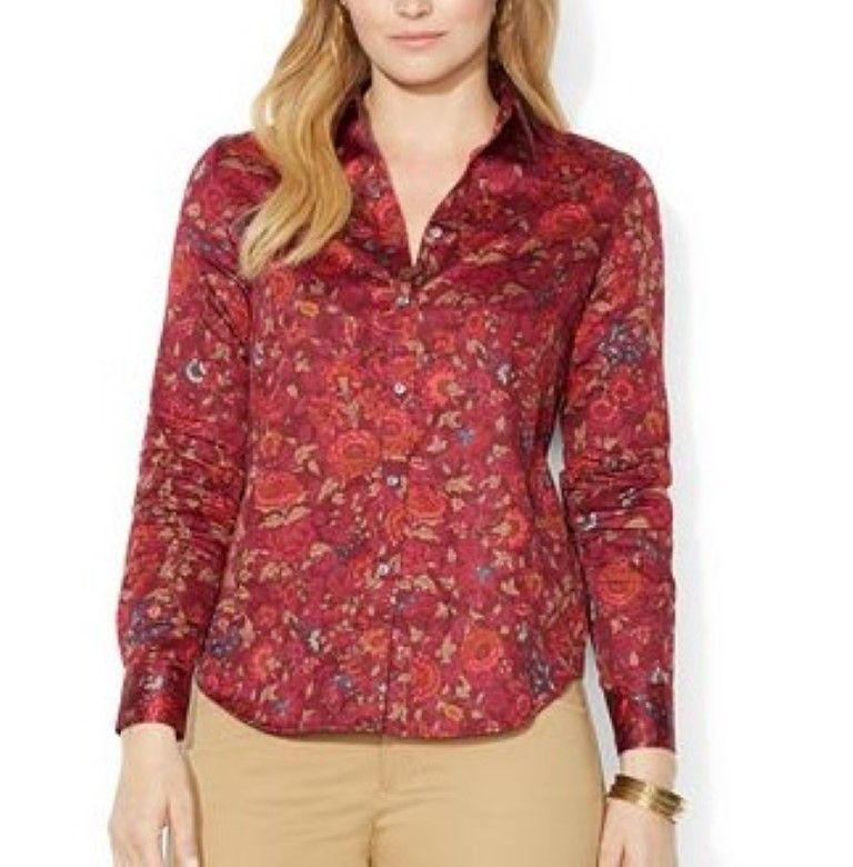 lauren ralph lauren plus size floral-print sateen shirt 1x