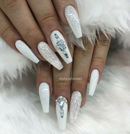 pinaaliyah on nails in 2020  white glitter nails