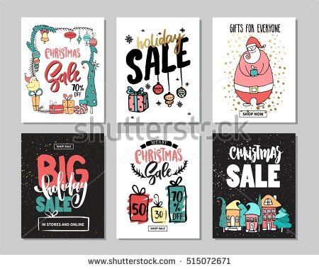 set of creative sale holiday website banner templates christmas and new year hand drawn illustrations for social media banners posters