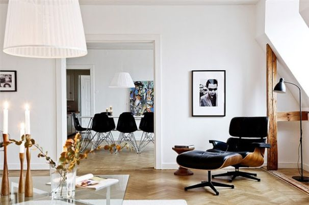 Eames Lounger and molded plastic chairs The Best Ways to Use Iconic Furniture - Just Decorate! Blog