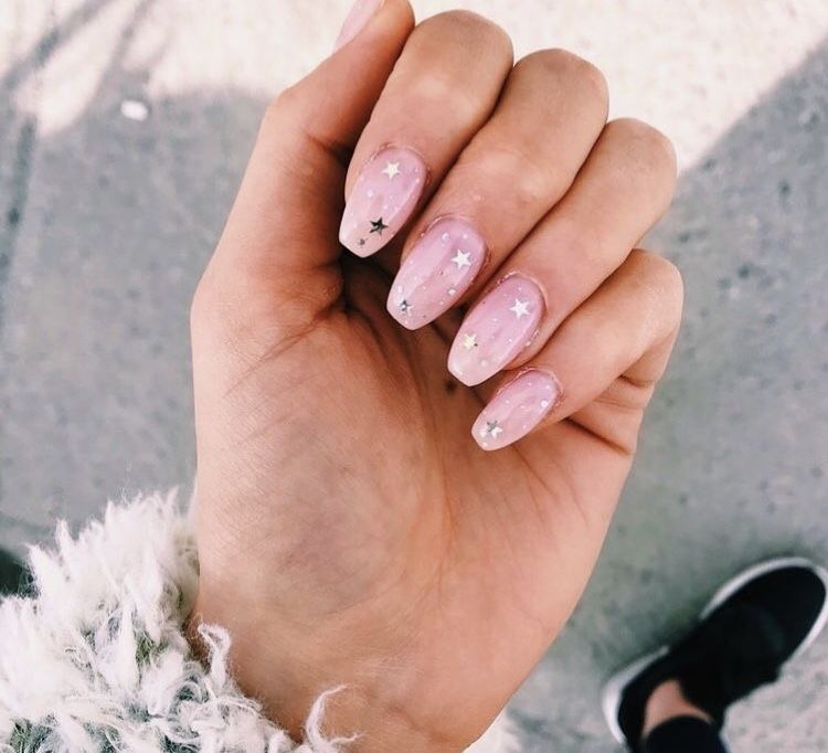 Light Pink Nails With Stars Cute Nails Manicure Star Nails
