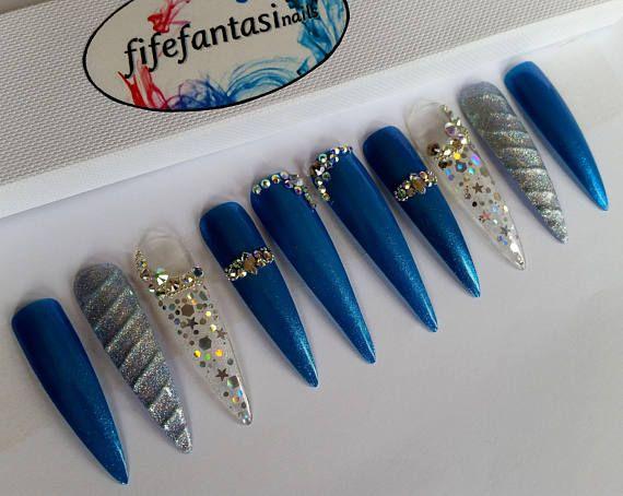 Pin By Dazzling Nails By Suzyq On Tutorial Glue On Nails Mermaid Nails Swarovski Nails