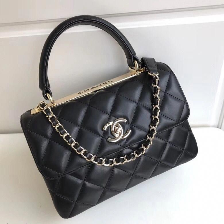 93c333386b42bb Chanel Quilting Small Trendy CC Flap Bag With Top Handle A92236 Black  2018(Gold-tone Hardware) #Chanelhandbags