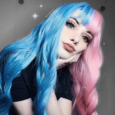 Rreview For Half Blue Half Pink Big Wave Wig Yv40408 Unnatural Hair Color Split Dyed Hair Dyed Hair