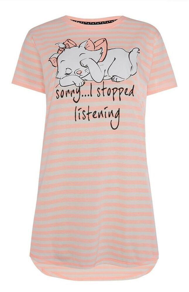Marie The Cat Nightie Disney Nightshirt Pj/'s Long Pyjama Top Nightdress Primark