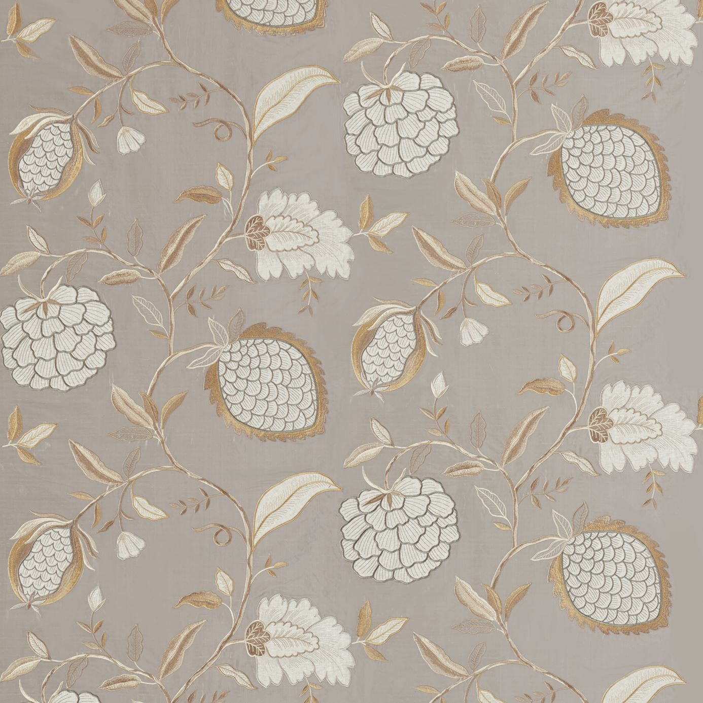 Pomegranate Tree Embroidered Fabric A Beautiful And Sophisticated With Large Scale Gold Two Over Trail Of Fruits