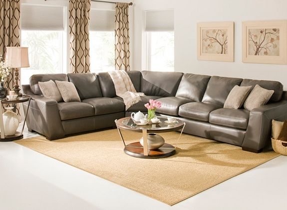 Carpenter 3 Pc Leather Sectional Sofa W Queen Sleeper Livingroom