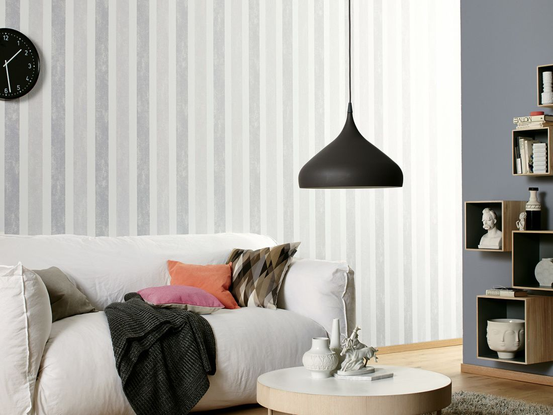 Schöner Wohnen Tapete 958673: Tapete, Creme, Grau, Weiß, Streifen, Bad