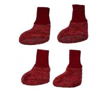 Cosilana wollen babyslofjes  rood gemeleerd  38/44 (46910)
