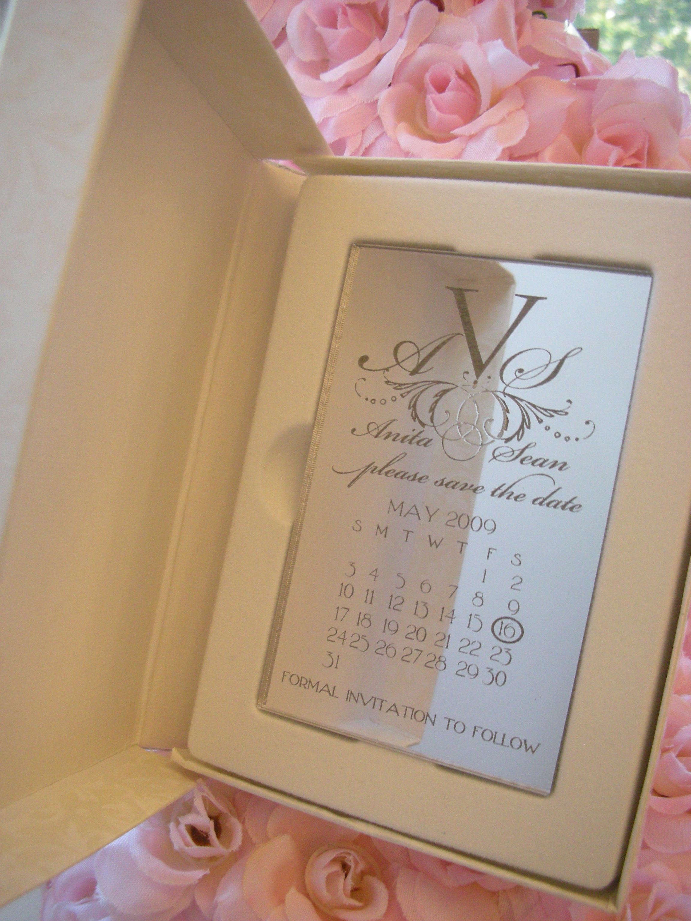 Engraved Mirror Save the date Magnet - Wedding, Anniversary or ...