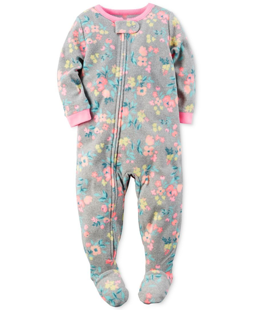 734897cd1 Carter s Baby Girls  1-Pc. Floral-Print Footed Pajamas