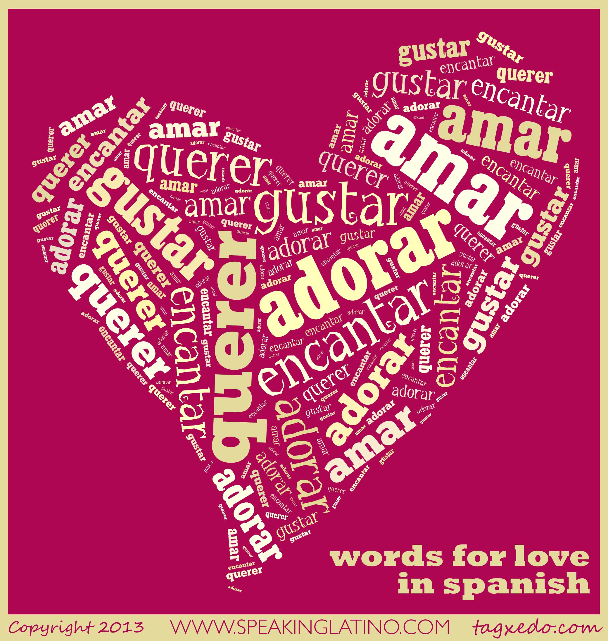 language learning spanish words for love spanish. Black Bedroom Furniture Sets. Home Design Ideas