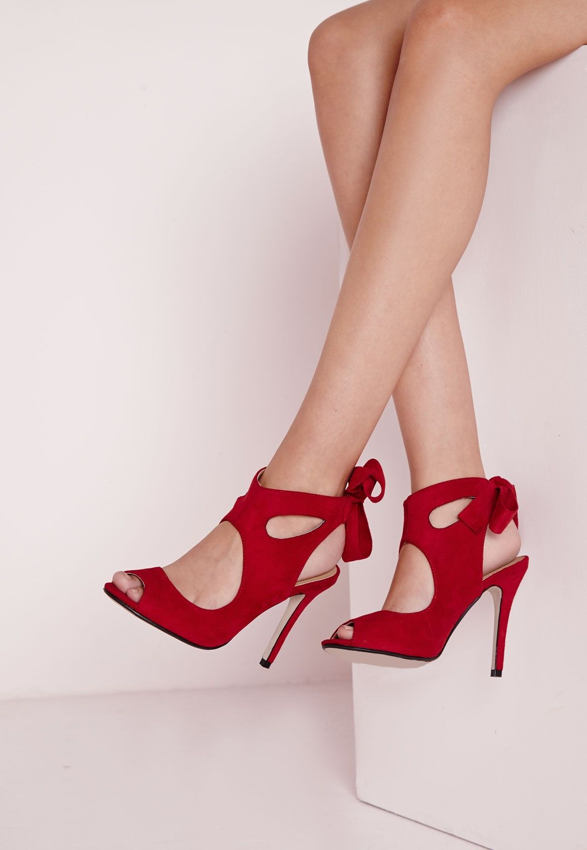Missguided - Bow Tie Back Heeled Sandals Red