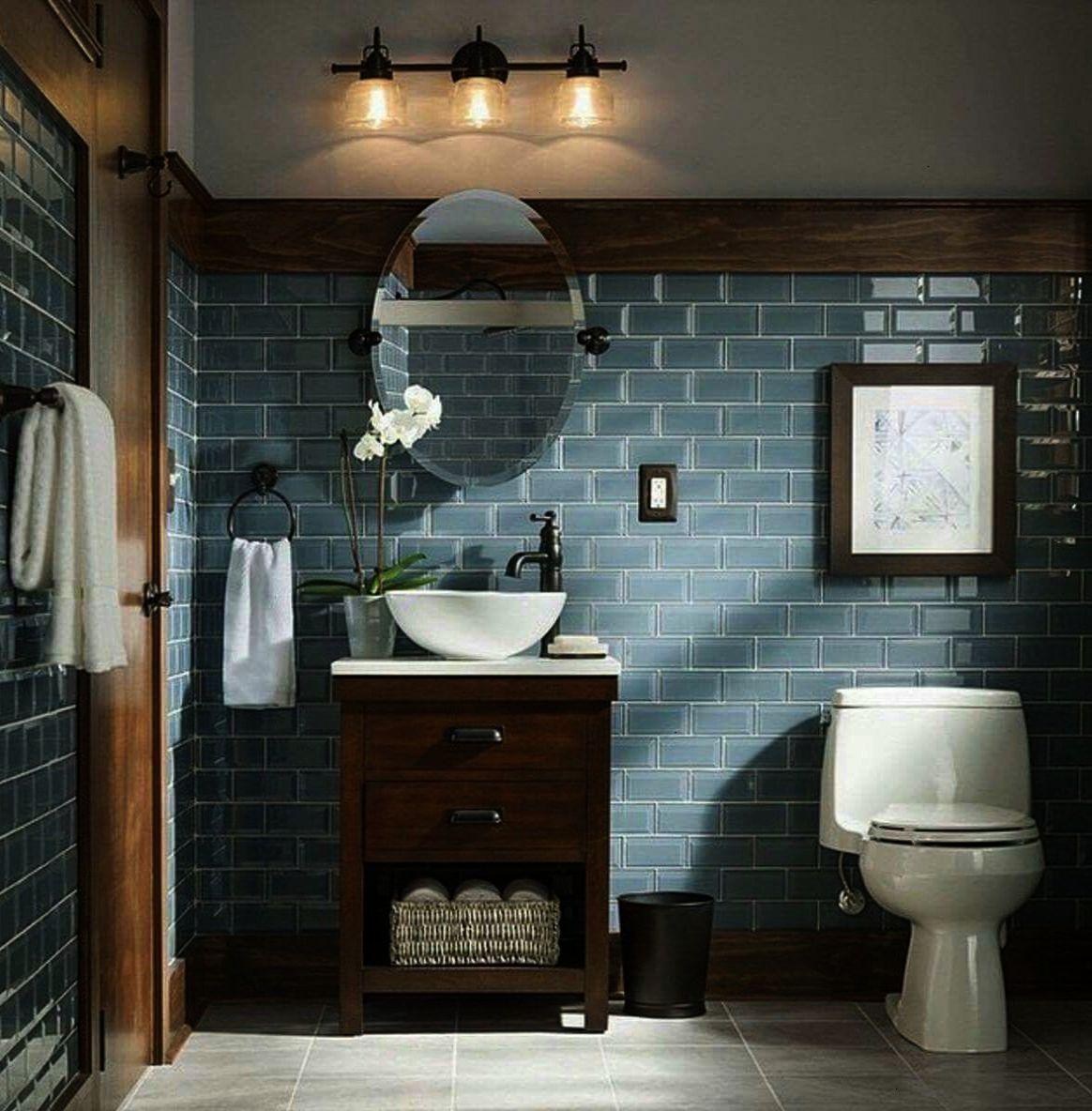 Rustic and Modern Bathroom Blue Grey Glass Tiles ... on Rustic Farmhouse Bathroom Tile  id=97124