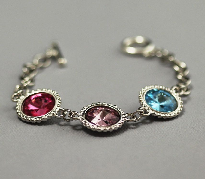 Birthstone Jewelry For Mom Grandma S Bracelet Mother Swarovski Crystal Grandmother Personalized 46 00 Via Etsy
