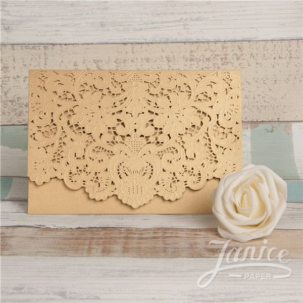 Graceful Gold Laser Cut Pocket Wholesale Wedding Invitation