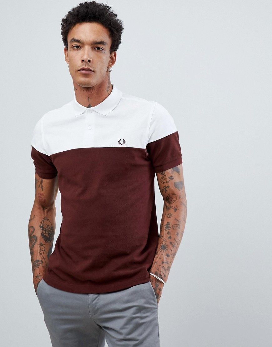 90aad938546c1f FRED PERRY PANELED PIQUE POLO IN WHITE BURGUNDY - WHITE.  fredperry ...