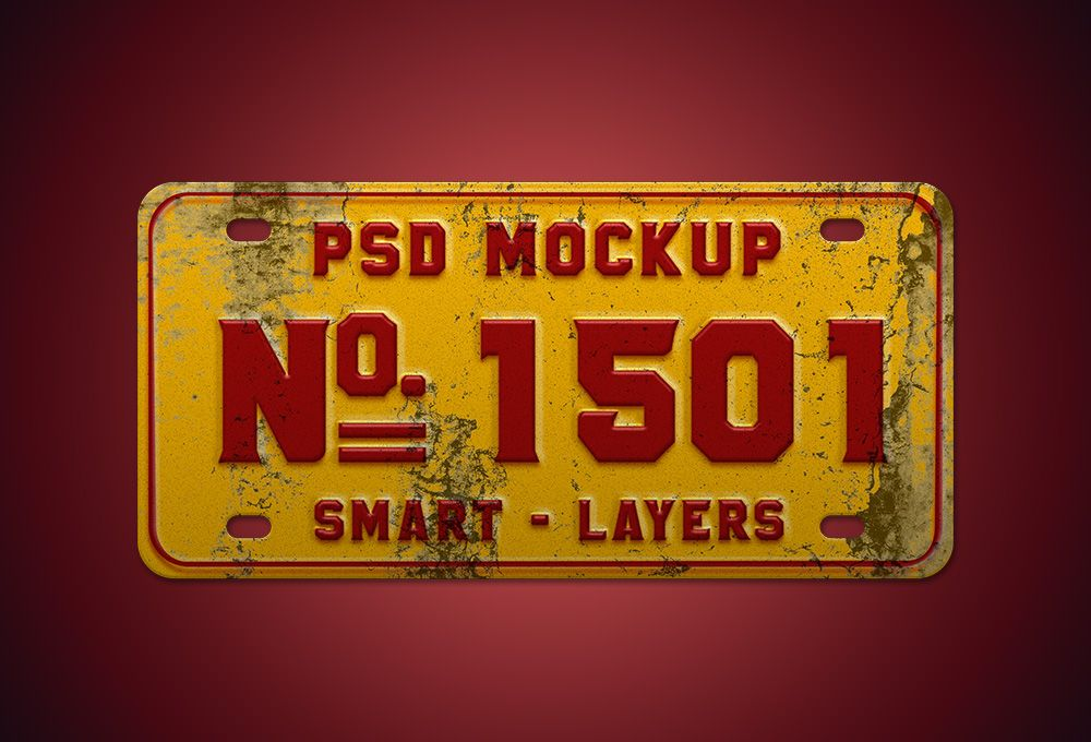 This freebie is a vintage number plate mockup PSD. This template ...