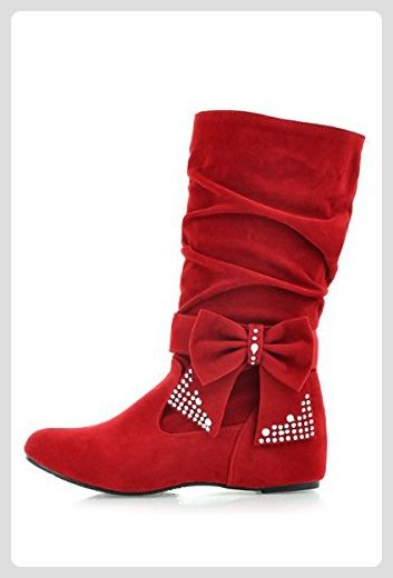 TOOGOO(R) Damen mode mittlere hoch flach Schleife Slouch Stiefel rot 39 ePFfuKdWZz