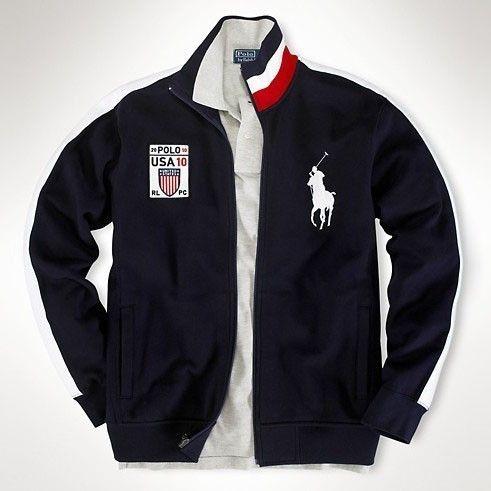 Ralph Lauren Men's 2033 Fleece Flag Track Jacket USA