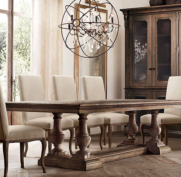 Rh 39 s st james rectangular extension dining table for Restoration hardware dining room ideas