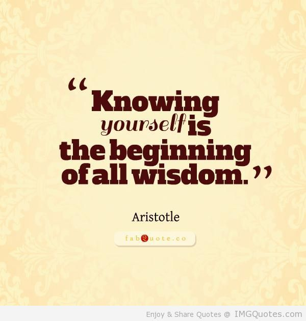 Knowing Yourself Is The Beginning Of All Wisdow Aristotle Wonder Quotes Know Yourself Quotes Be Yourself Quotes