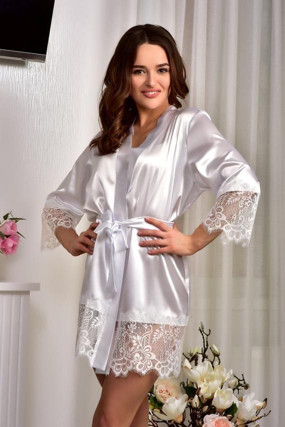 d6db875184cb7 Bridal kimono Bride robe Kimono robe Lace bridal robe Womens satin ...