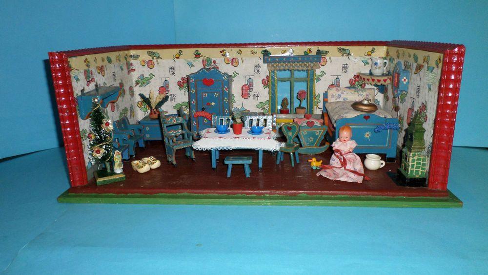 Ebay wohnzimmermöbel ~ Alte kleine puppenstube puppenküche bauernstube 1 raum 30er