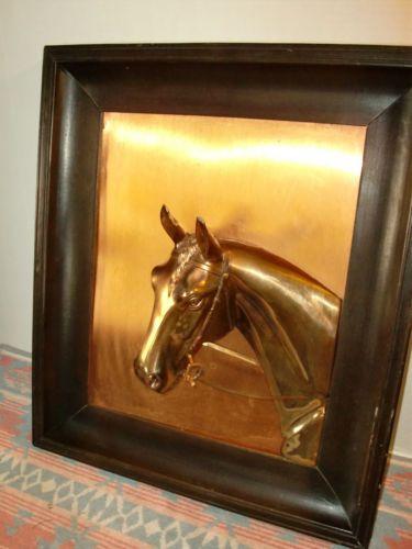 Vintage HORSE HEAD 3D Metal Brass Copper Art Wall Hanging Sculpture ...