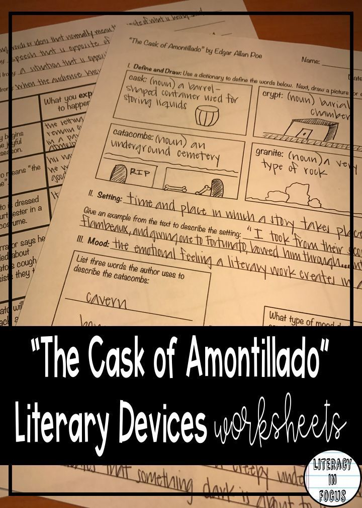 Cask of Amontillado Literary Devices Worksheets- Setting, Mood ...