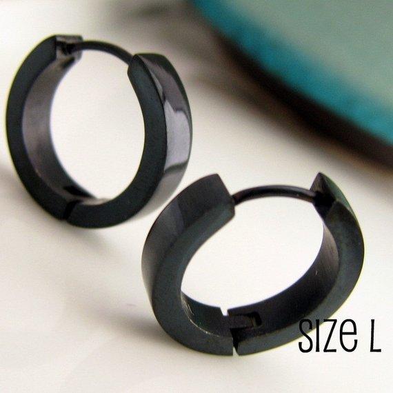 Jet Black Hoop Earrings For Men Simple Guys Cyber Corp Gothic Punk Male Rock Stainless Steel Lar