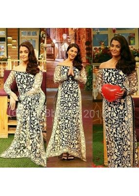 fa5f8e23e Bollywood Replica - Aishwarya Rai In Heavy Embroidered Blue Gown ...
