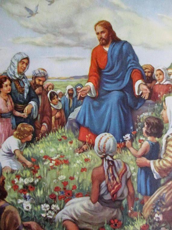Vintage Bible Story Prints JESUS TEACHING Children NURSERY ...