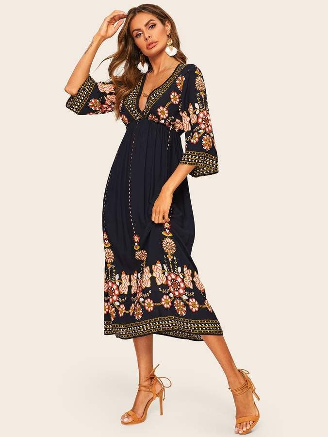 f150fbc934324 Shein Tribal Deep V Neck Flare Dress in 2019 | Products | Shirred ...