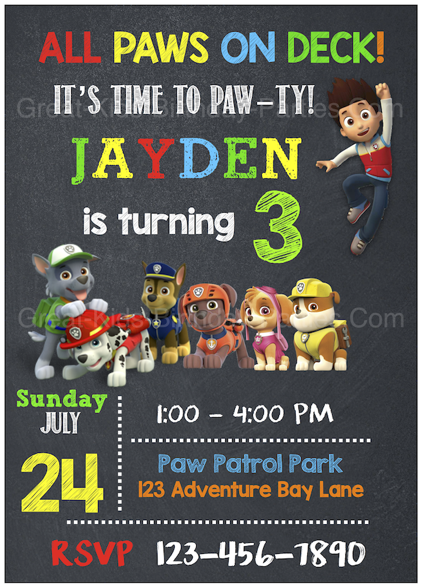 Breathtaking image intended for free printable paw patrol invitations