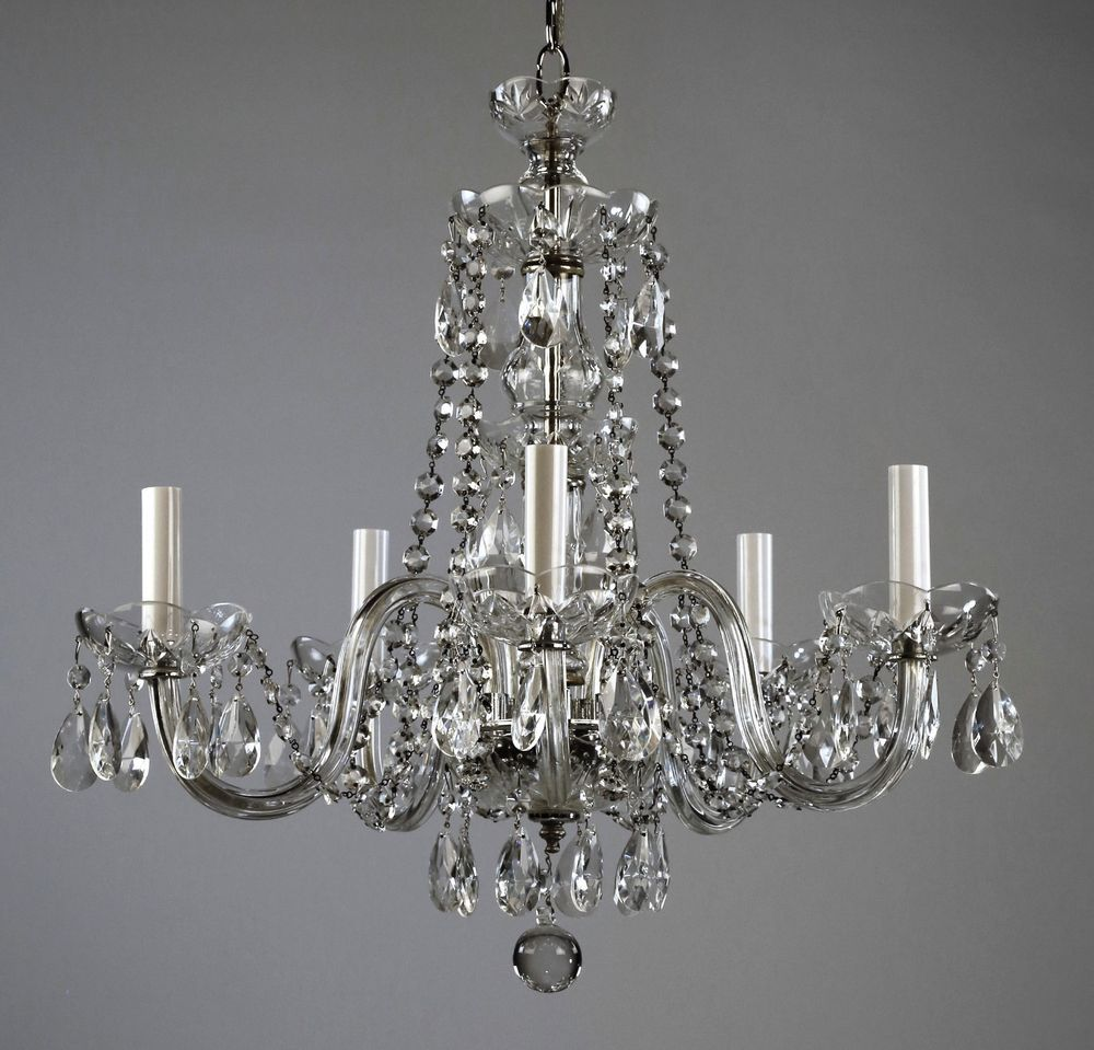 Restored Waterford 499 Waterford Style Crystal Chandelier C1950
