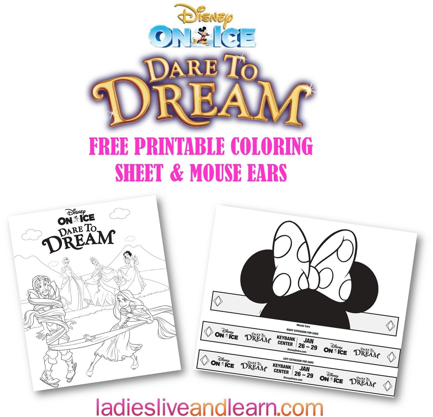 Disney on ice printable coloring sheet and the cutest mouse ears cut