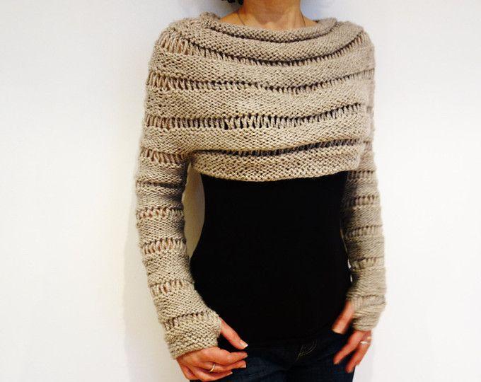 Sweater Knitting PATTERN - Oatmeal Cropped Thumb Hole Sweater ...