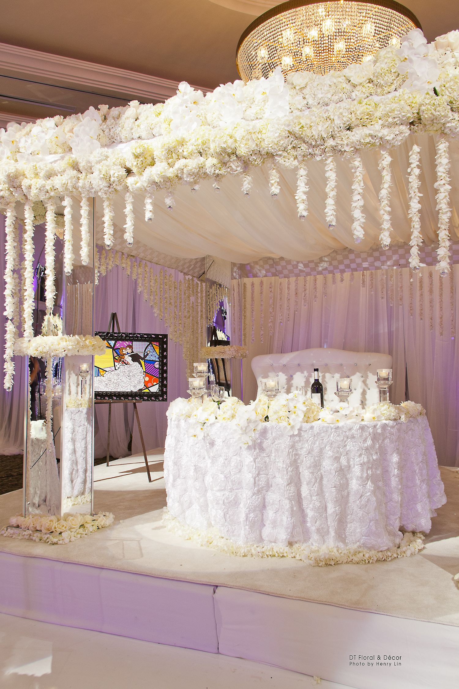 Wedding decor all white  Chuppah turned Head Table beautiful all white cascading floral