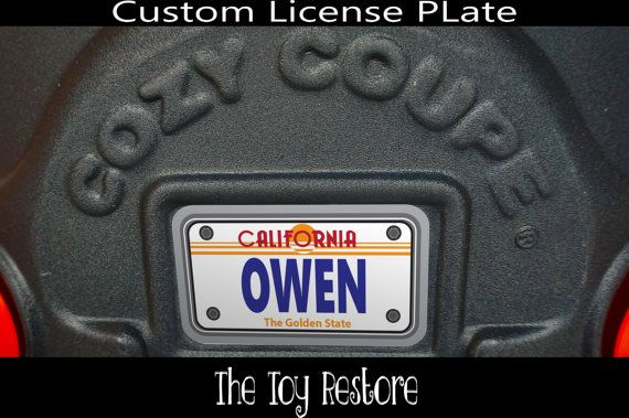 Older california custom license plate new replacement decals stickers for little tikes tykes cozy coupe car
