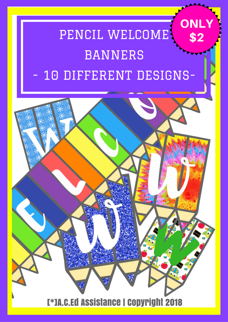 Ten 'back to school' pencil WELCOME banners for your