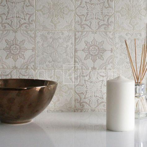 marokkanische kachel geometrisch fliesen effekt tapete grau beige creme wei in - Tapete Grau Beige