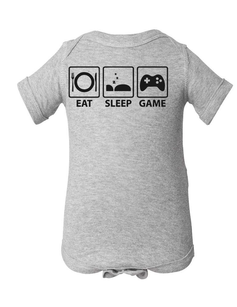 Eat Sleep Game Baby Infant Lap Shoulder Creeper little Babies clothes cute  clothing Double-needle rib binding on neck, shoulders, sleeves and leg  openings ...