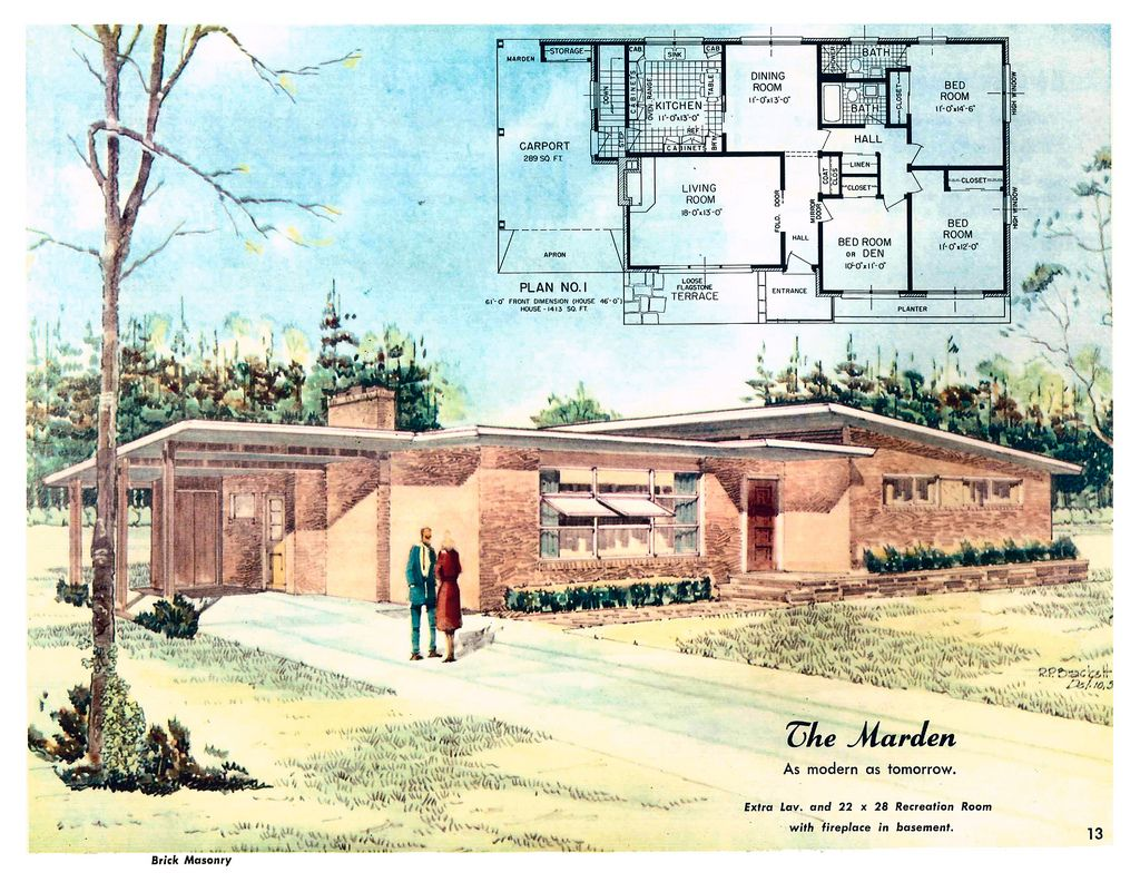 Marden As Modern As Tomorrow Homes Of Color Mid Century Modern House Plans Vintage House Plans Mid Century Modern House