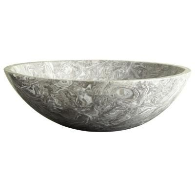 Xylem Stone 17 in. Round Vessel Sink in Overlord Gray-MAVE170COG - The Home Depot